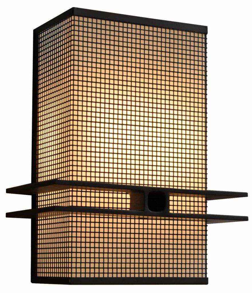 7766 Cb8 Stch P Ba Square Mesh Wall Sconce Mid Century Modernism – ADG Lighting