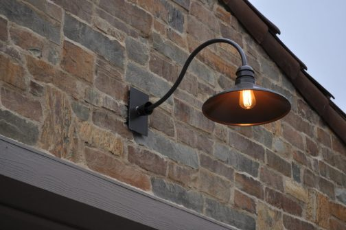 Custom Lantern And Garage Light Modern Traditional Architecture Stone House