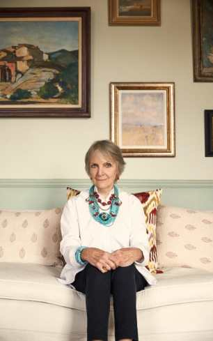Anna Harvey, at home in London, demonstrates her effortlessly chic and ageless style..Credit: Lucia O'Connor McCarthy