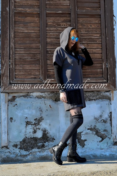 Dress sewing by adhandmade, Pantyhose by Penti, Boots by Mammamia