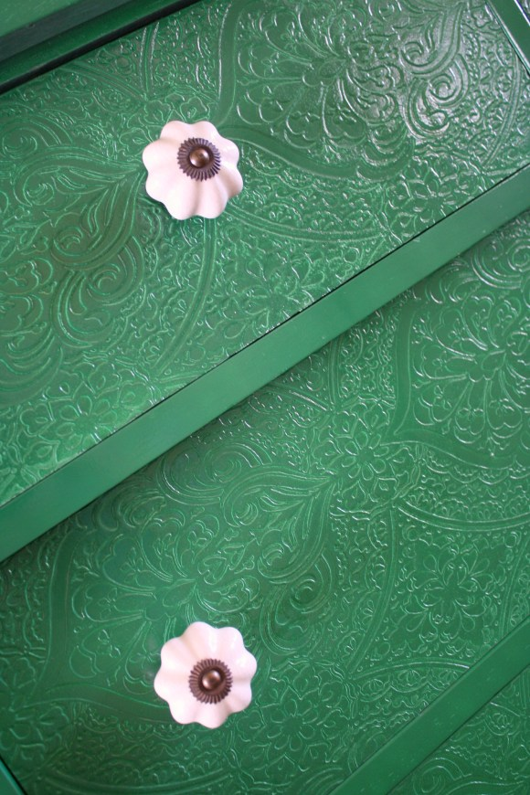 close up of emerald dresser