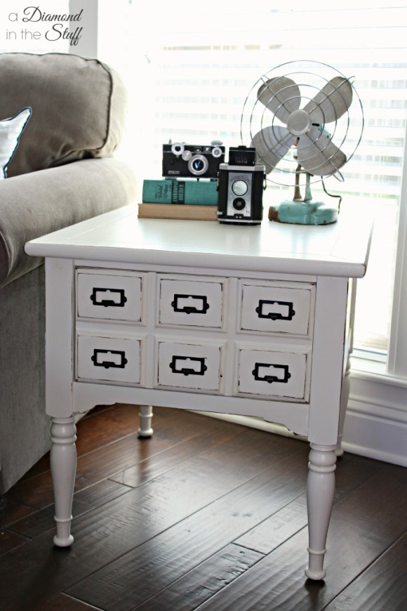 Faux Card Catalog End Table | A Diamond in the Stuff