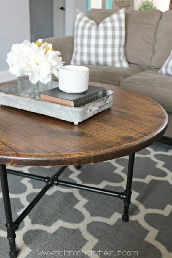 Diy round industrial coffee table for Industrial farmhouse coffee table