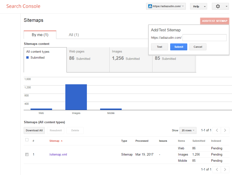 Google Search Console - Sitemap