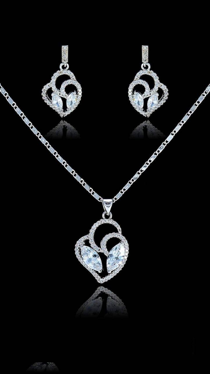 silver zircon stone necklace