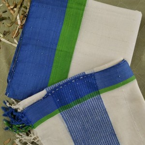 2pcs 100% Cotton Chumki Hand Loom Dress Off White Color