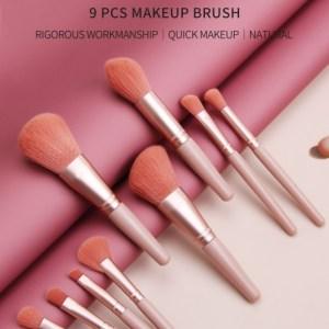 Maange 9pcs Makeup Brush Set Pink Color