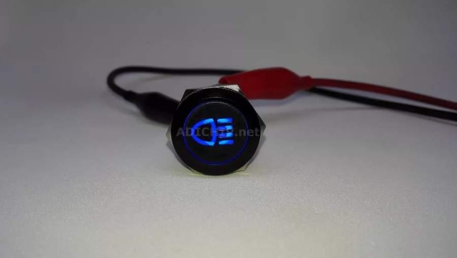 Boton 19mm Aluminio Logo LUCES Con Retención Color AZUL