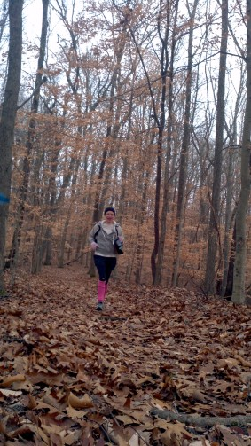 Abby running in the woods