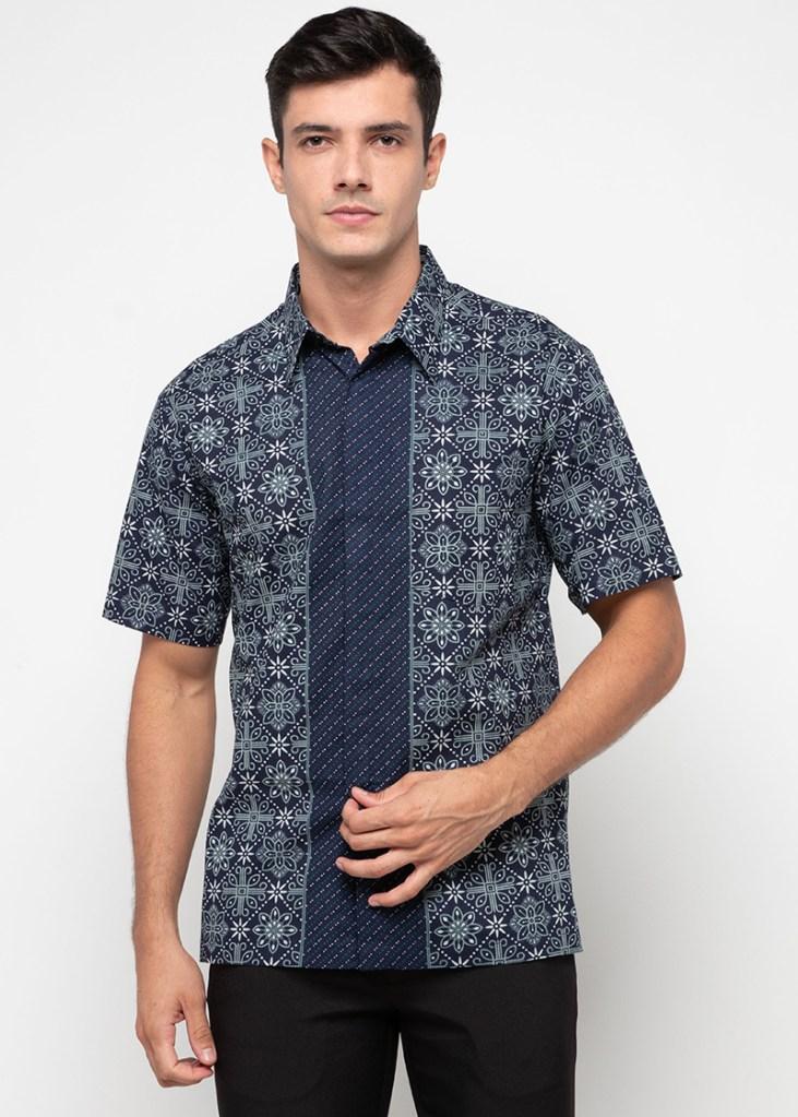 Batik Adikusuma Nitik Kembang Kemeja Batik Pria – Biru