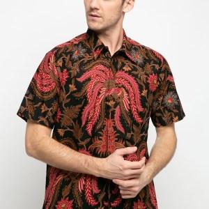 Batik Adikusuma Daun Jalar Kemeja Batik Pria – Hitam