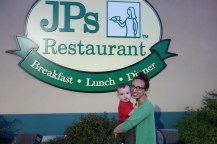 Finally stopped at the restaurant that we've passed on all our trips east/south. Lo and behold, JP cracks a smile.