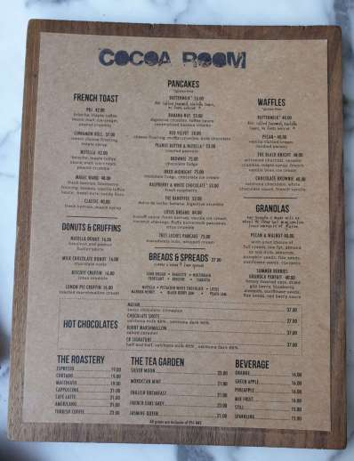 Cocoa Room Menu