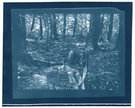 "Emily, cyanotype contact print of graphite drawing on vellum, 8"" x 10"", 2015"