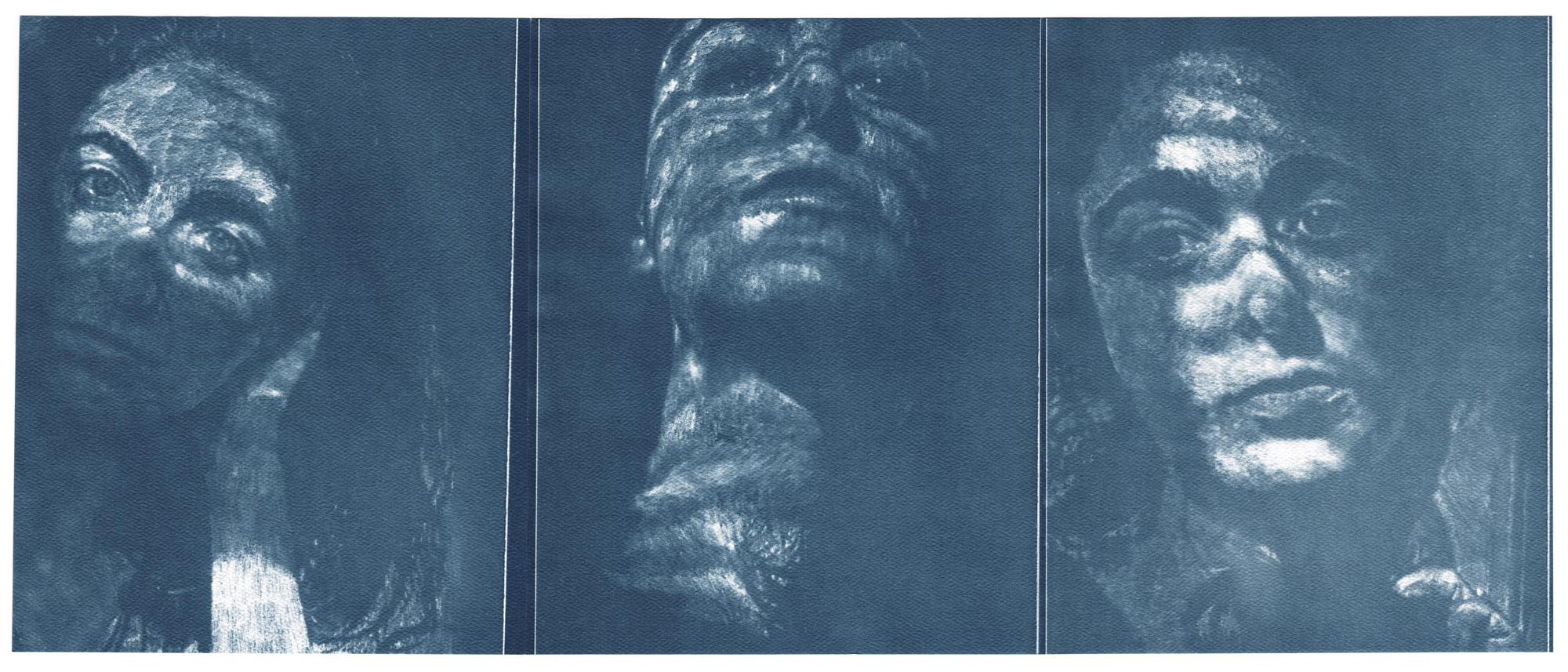 "Selfies between sneezes, cyanotype contact prints of graphite drawings on vellum, 10"" x 24"", 2015"