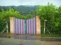 A painted gateway in the Andes.