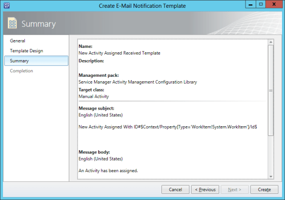 Create Notification Template - Newly Assigned Activit 09