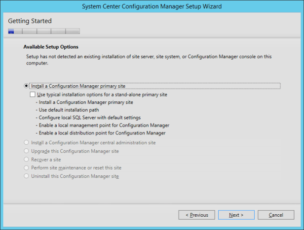 SCCM2016TP2 - Setup Options