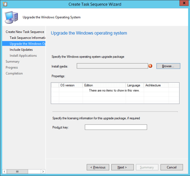 SCCM2016TP2 - Task Sequence - Upgrade OS