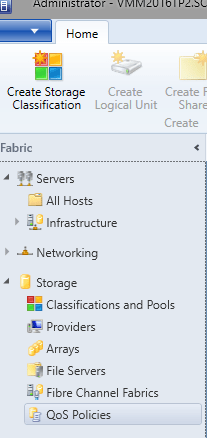 SCVMM 2016 TP2 - Fabric - Storage - QOS Policies