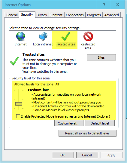 Internet Explorer - Options - Trusted Sites