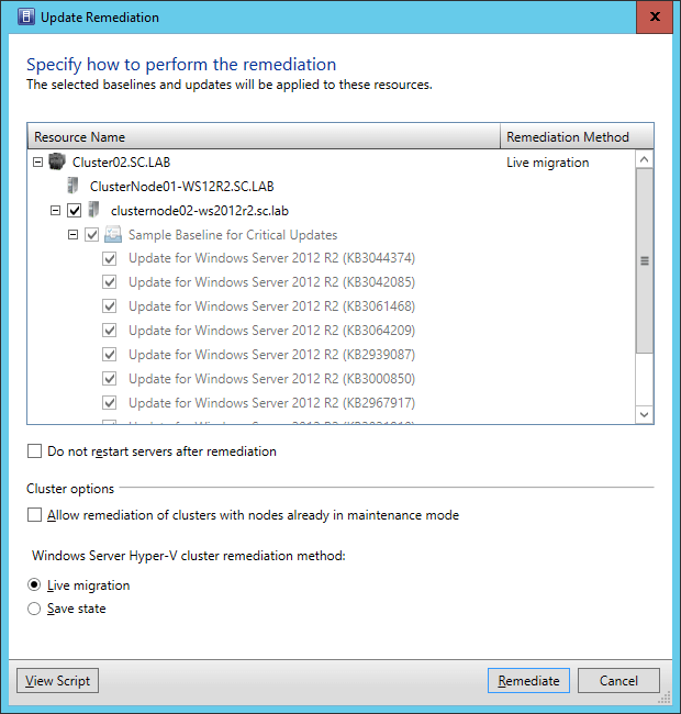 SCVMM2016TP3 - Update Remediation