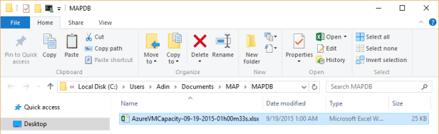 MAP Toolkit - Azure VM Capacity - Report Location