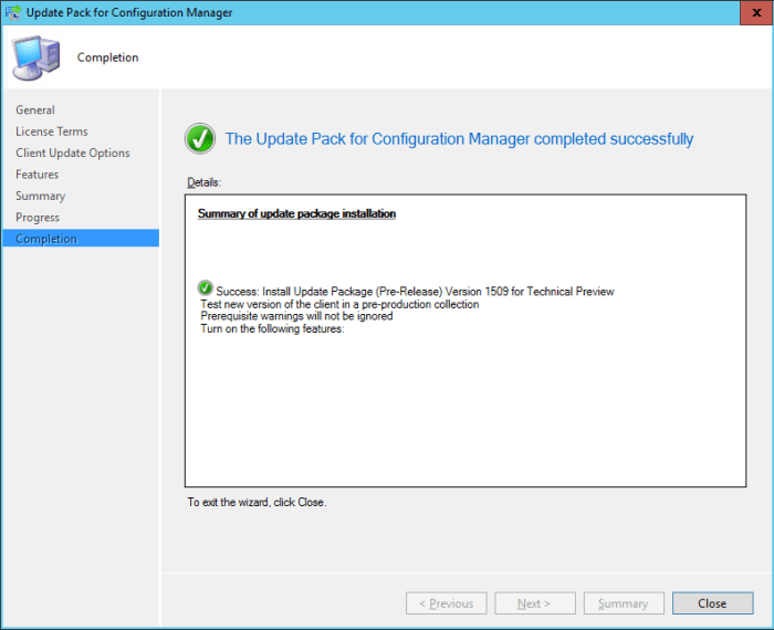 SCCM 2016 TP3 U1509 - Update Pack Wizard - Completed
