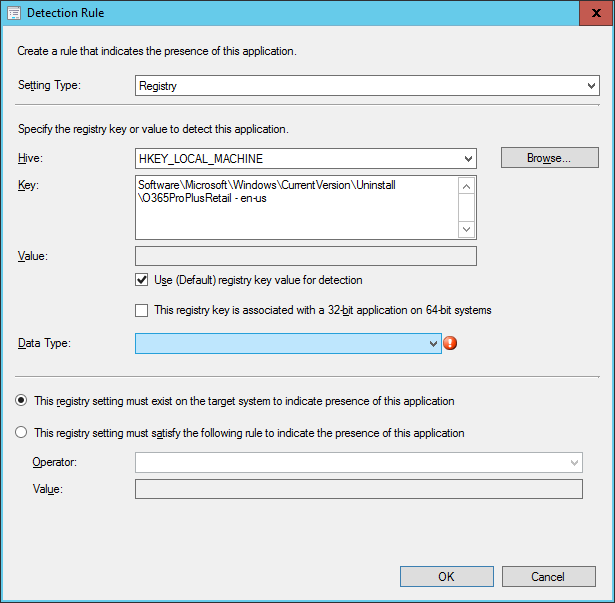 SCCM - Create Deployment Type Wizard - Detection Rule