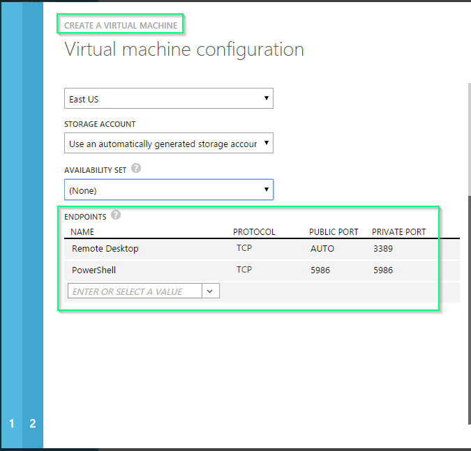Azure - New VM - Default Endpoints