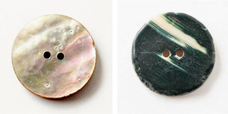 front and back of vintage shell button