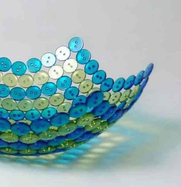 blue and yellow button bowl
