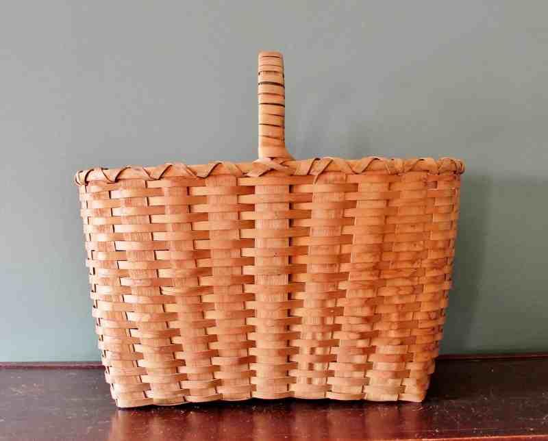 antique ash splint gathering basket