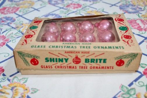 vintage shiny brite pink bulbs