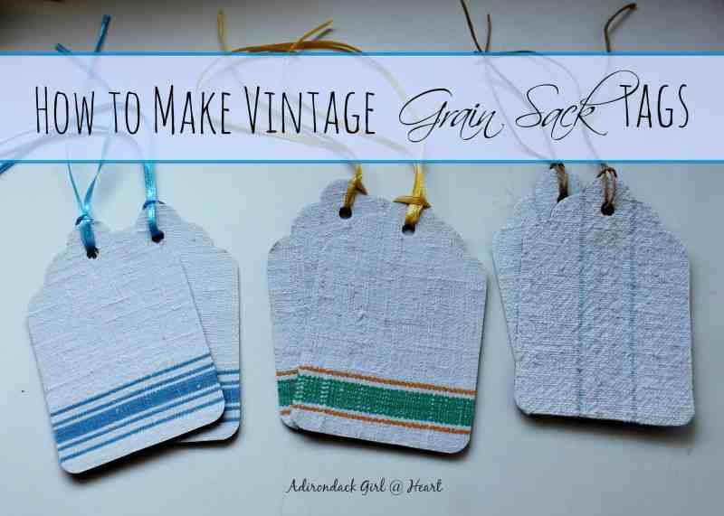 vintage linen grain sack tags