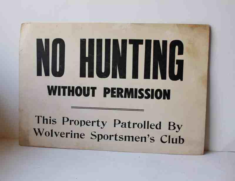 vintage no hunting sign