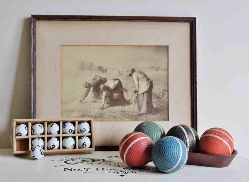 vintage print, croquet ball, ceramic balls