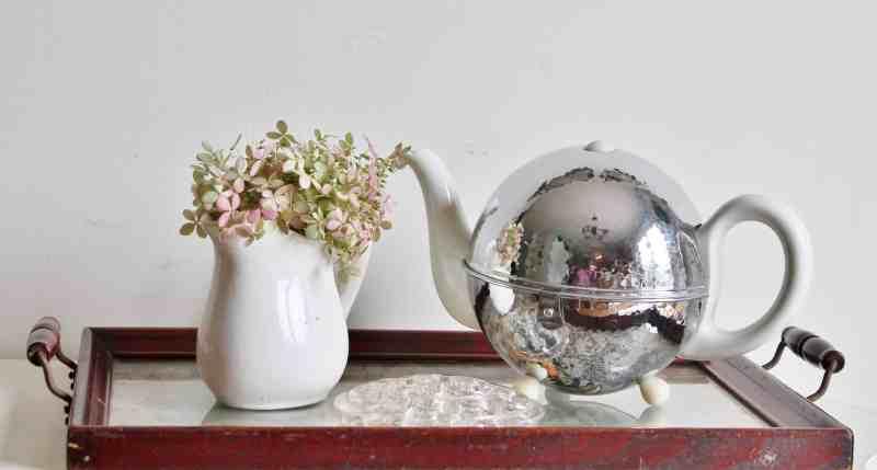 vintage tea pot, tray and flower frog