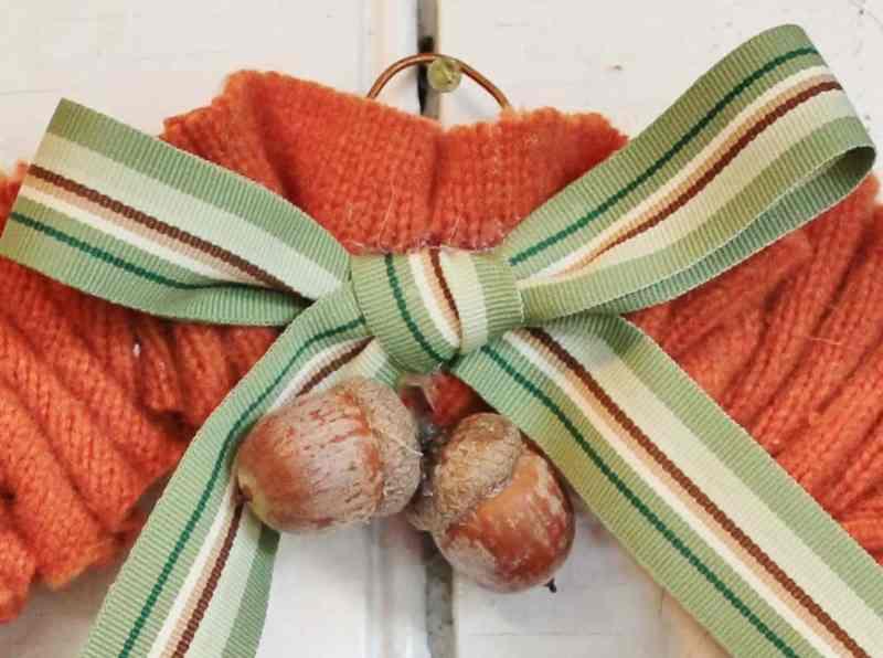 close up of sweater scrap wreath