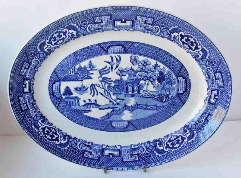 Vintage blue willow platter