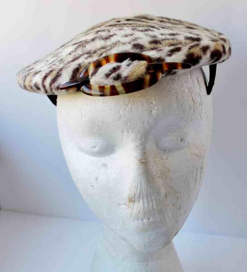 vintage faux leopard skin hat