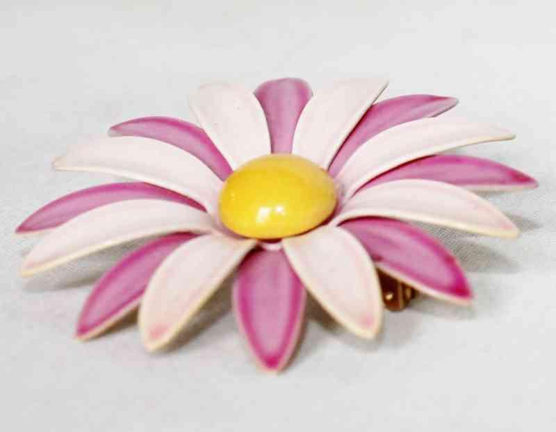 Vintage Enamel Flower Pin for sale