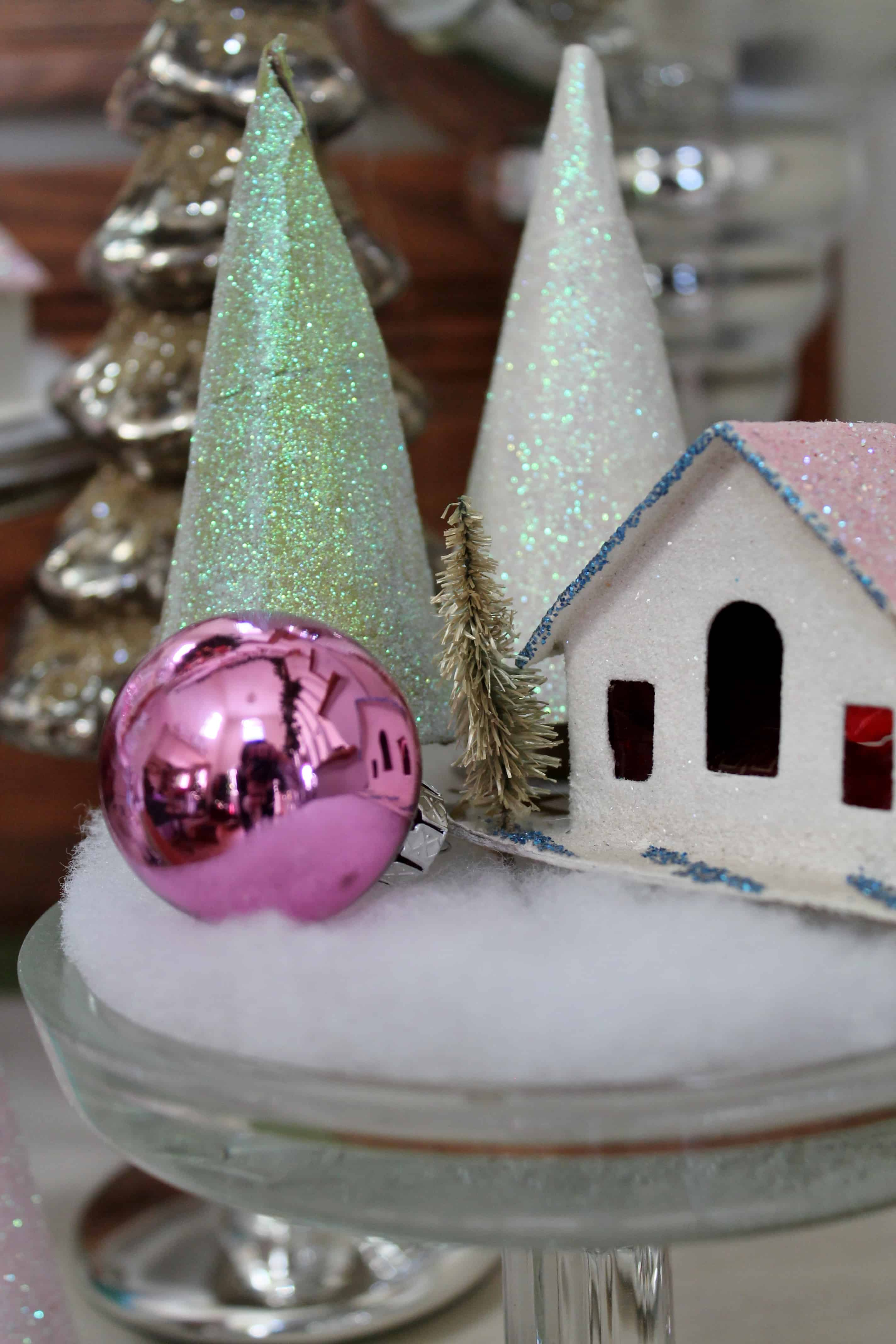 Glittery TP tube Christmas trees with vintage Putz house