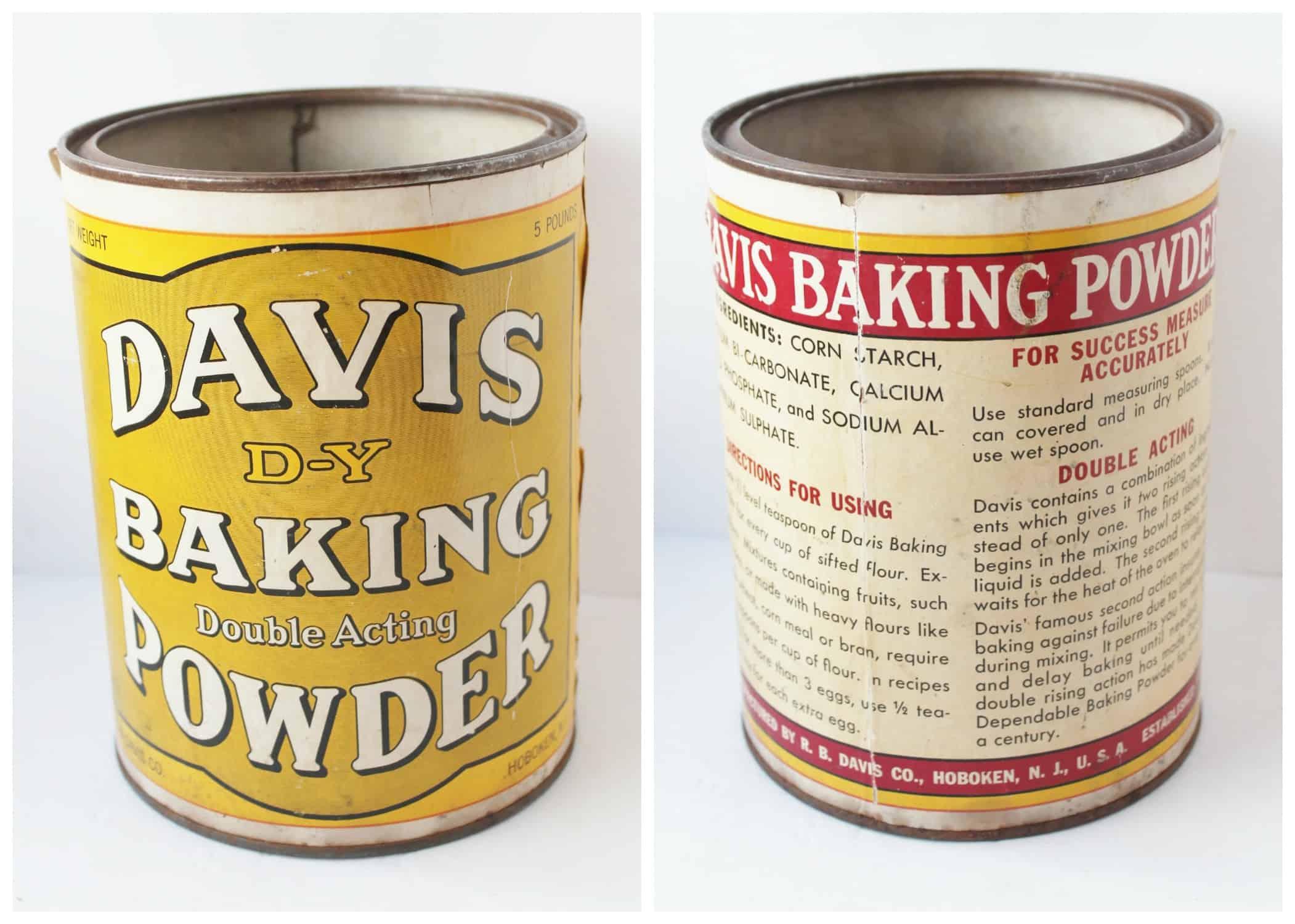 Antique Davis Baking Powder Can with Label