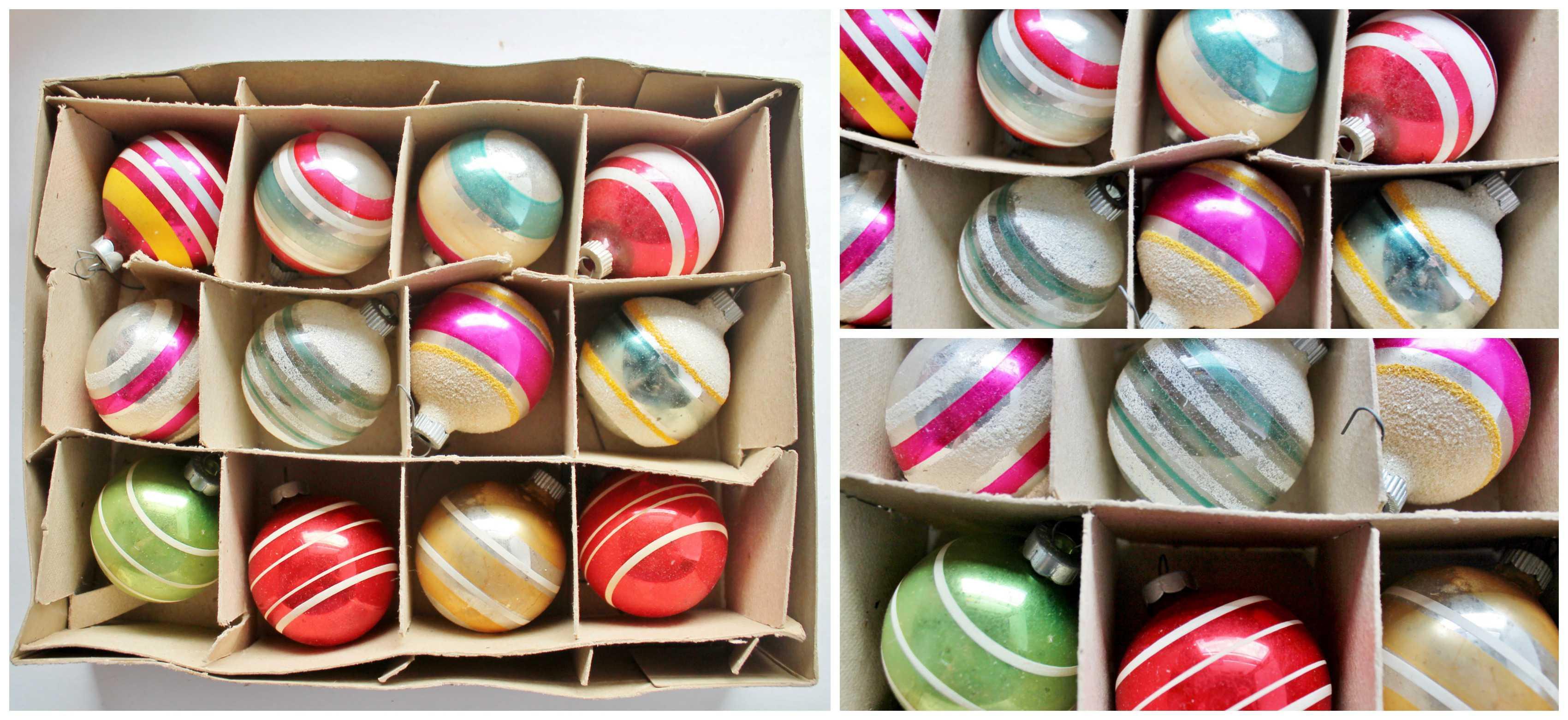 Vintage Striped Shiny Brite Ornaments (12) Collage