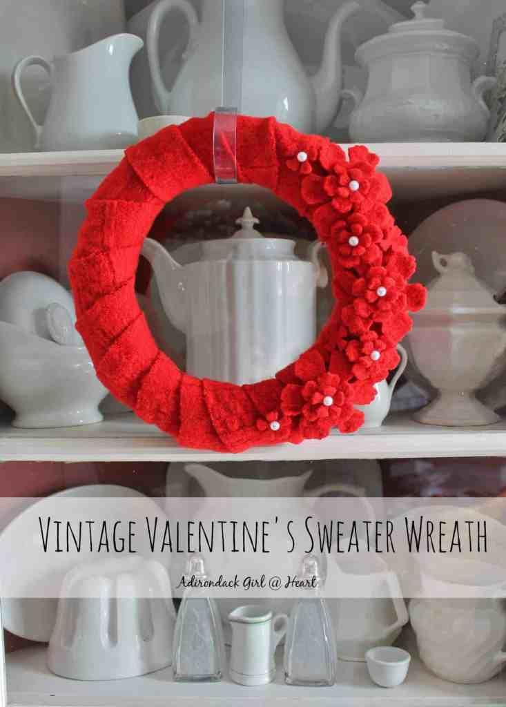 vintage valentines sweater wreath