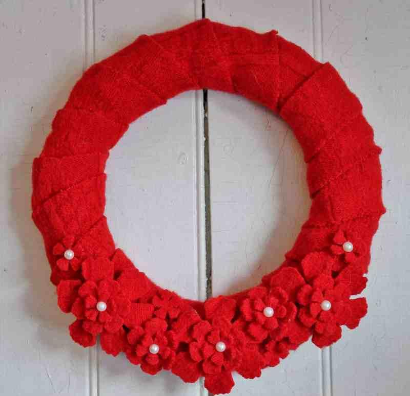 vintage wool sweater wreath