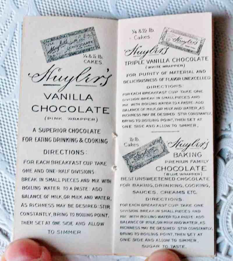 Inside Antique Chocolate recipe booklet