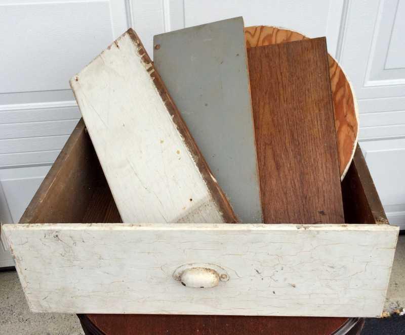 Vintage Drawer with vintage wood scraps