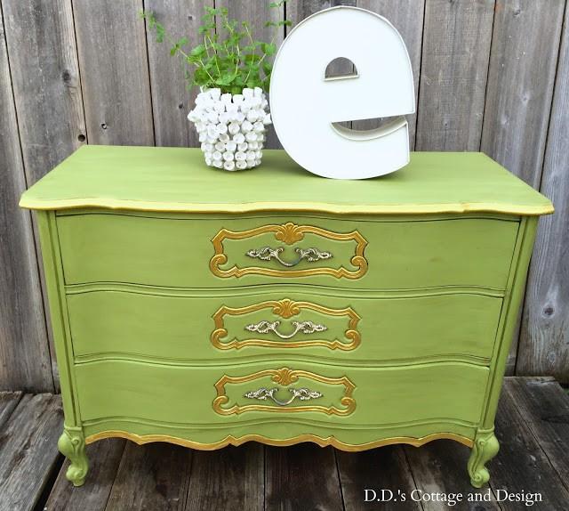DD's Designs Green & Gold Vintage Dresser Makeover